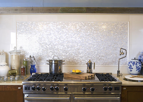 One of the mother of pearl kitchen backsplashes.